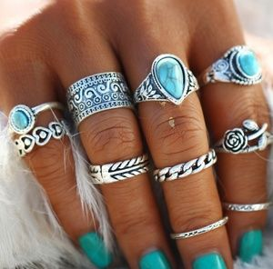 CREATIVE VINTAGE TURQUOISE STYLE STONE RINGS